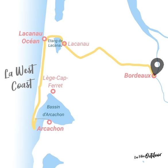 carte itinéraire bordeaux-lacanau-cap ferret